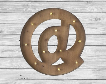 Freestanding Wooden Rustic LED Light Up Letters 16