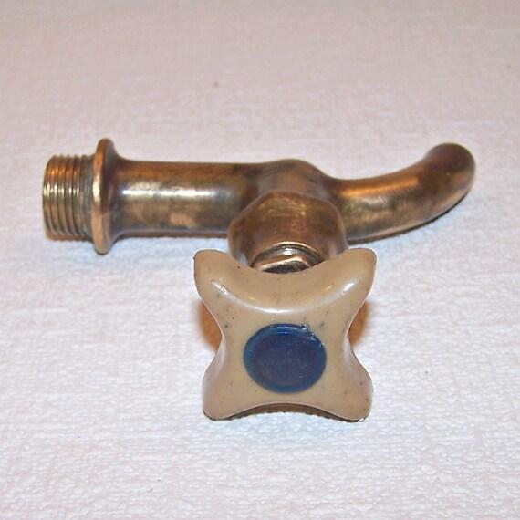 Vintage brass water tap with plastic handle soviet retro