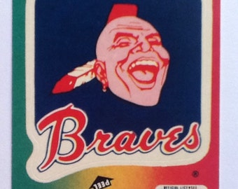 Vintage 1980's Fleer Team MLB baseball Sticker Card Atlanta Braves