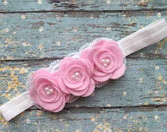 Light pink and white rosette baby headband- pink and white felt baby headband- white and light pink newborn headband-felt rosette headband-