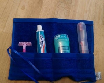 Travel Toiletry Roll Royal Blue  Travel Toothbrush Roll,  Gym Bag Roll,  Toothbrush Holder,  Camping,  Overnight,  Make Up Brush Roll