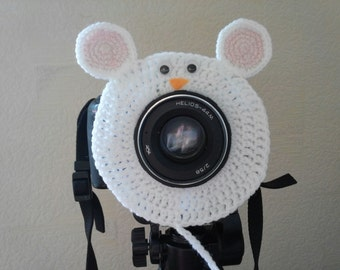 White mouse, Camera Lens Buddy, Camera Accessories, Lens Buddy, Crochet Lens Critter, Photographer Helper, Family Photography