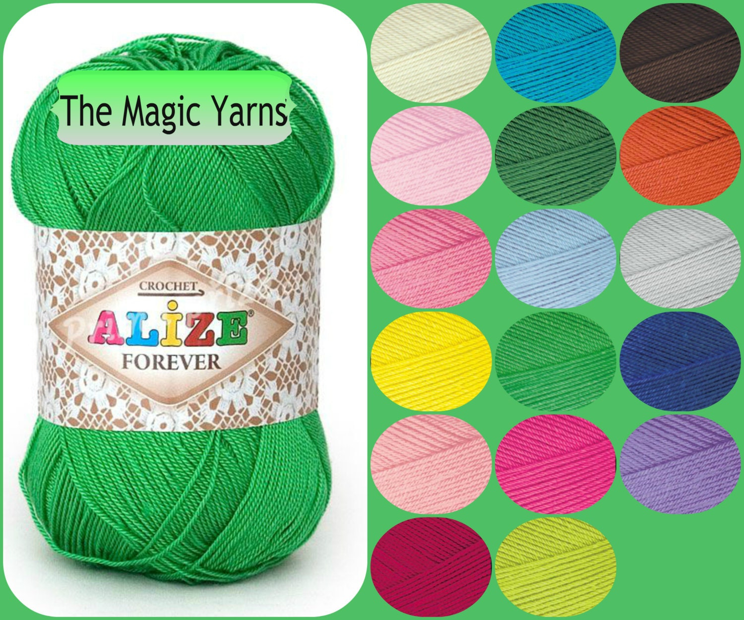 Alize Forever Hypoallergenic yarn. Crochet, lace weight, super ...