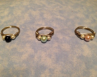 Glass pearl wrapped rings handmade