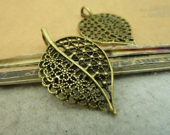 20 Leaf Charms Antique Bronze Tone - WS4635