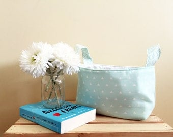 Geometric Mint Fabric Craft Basket