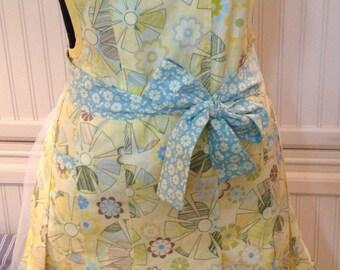 Clara Bow Full Apron - Aqua Yellow - women's full apron - long apron -  sew chic apron - pleated apron - aqua apron - yellow apron -