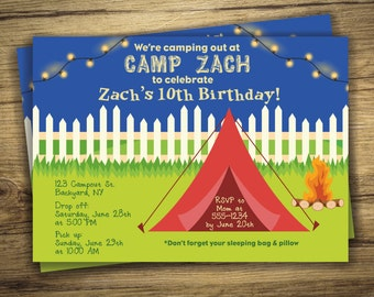 Campout Birthday Party Invitation