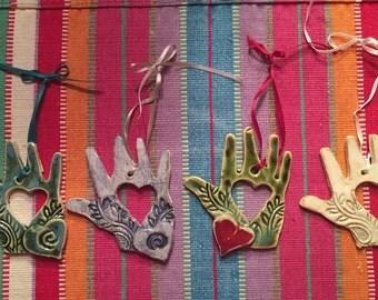 Ornament, heart ornament, Christmas ornament, hand ornament, ceramic ornament, pottery ornament