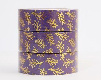 Washi tape foil tape purple gold branches
