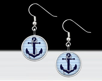 """Anchor Dangle Earrings-Rockabilly Retro Traditional Nautical Sailor Elegant Pierced Ears Jewelry-16mm or 5/8"""" Charm on 18mm Fish Hook Silver"""