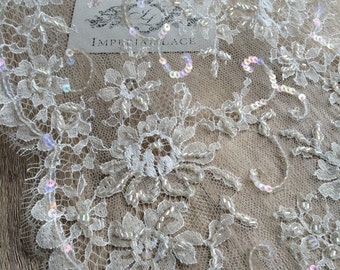 Beige beaded  lace, Beige chantilly  Lace Trimming, French lace trim, Made by Sophie Hallette  MK00132