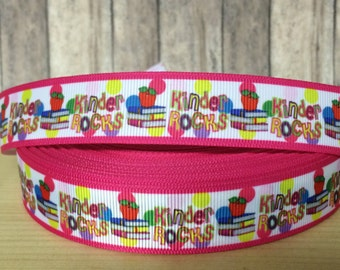 5 yards KINDER ROCKS inspired 7/8 grosgrain ribbon- 79 cents a yard