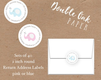 Elephant Return Address Label • 2 Inch Round • Blue or Pink