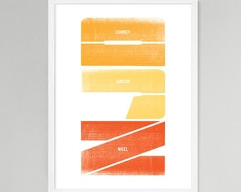Initial Vertical Personalized Baby/Kids Art (Orange, Medium)