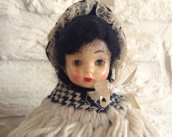 Vintage Welsh Doll Dressed In All Hand Knitted Costume