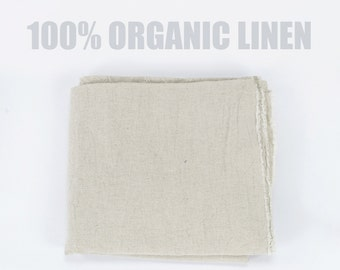 100% Organic Linen Fabric - Pure Linen - Natural Plain Flat Linen, Soft Linen Textile -  Cream Brown Natural Shade Thick Texture Linen Yard