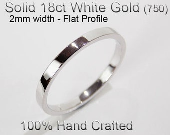 18ct 750 Solid White Gold Ring Wedding Engagement Friendship Friend Flat Band 2mm