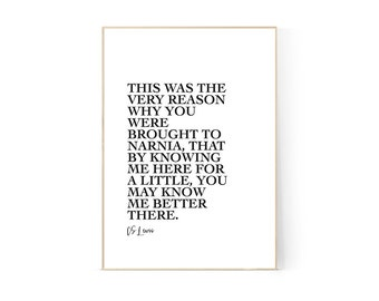CS Lewis Quote, Digital Print, Wall Art, Narnia, Minimalist, A4