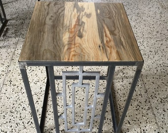Mid century modern steel end tables with old growth ponderosa pine top