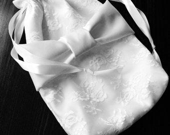 Bride Money Purse - Bride's Card/Money Bag - Bridal Dance - Dollar Dance - Satin Drawstring Bag - Wedding Accessory - Lace Drawstring Bag