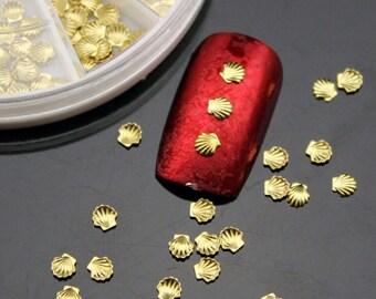 100 3mm Gold Nail SeaShells for nail art