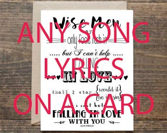 Any Song Lyrics Of Your Choice On A Greetings Card