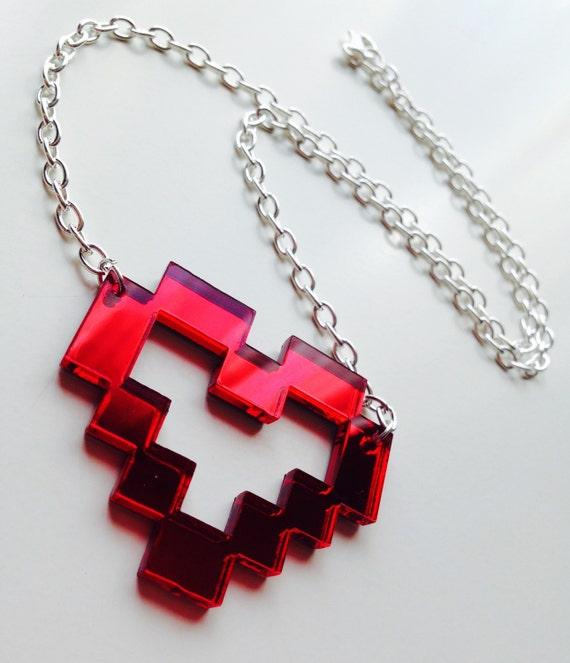 Pixel   Heart   Love    Geek   Retro   Emo   Red   Mirror   Laser Cut   Acrylic   Necklace