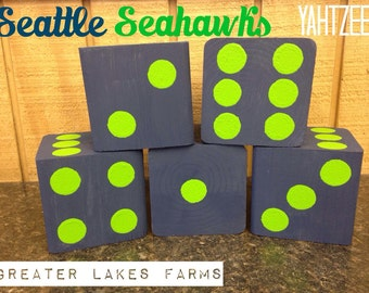 Seattle Seahawks Giant Yard Yahtzee- Sanded and Painted (wedding games, yahtzee, yard games, outdoor games)