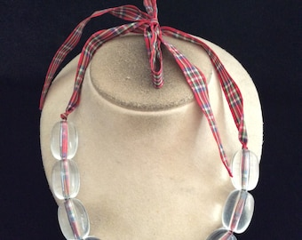 Vintage Unique Long Chunky Clear Beaded Ribbon Necklace