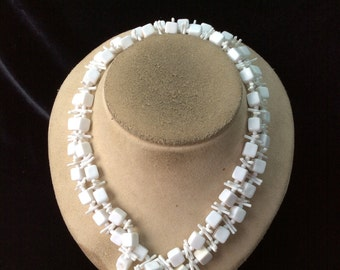 Vintage Long Square White Beaded Necklace