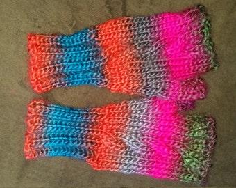 hand-knitted landscapes fingerless gloves