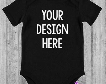 Personalised black bodysuit/romper/onesie - your design