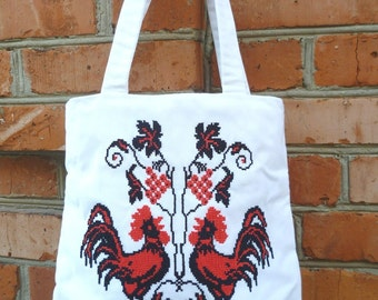 """Bag with embroidered """"Roosters"""""""