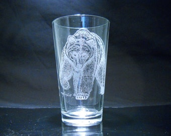 FREE SHIPPING - Sandcarved Grizzly Glass By Karrie Hill