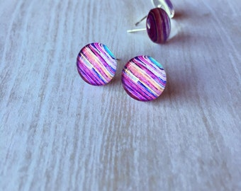 Purple, Yellow and Blue Striped Glass Dome Earrings - Stripe Earrings - Watercolour Earrings
