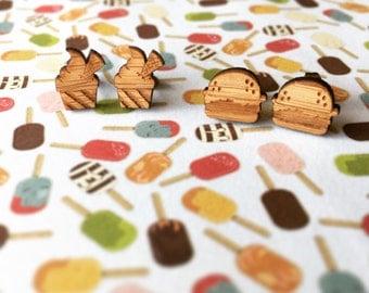 Food Earrings - Icecream Earrings - Burger Earrinds - Wood Earrings