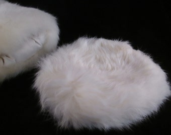 A Little Girls White Fur Pillbox Hat