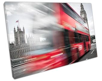 LONDON Red Double Decker Bus Canvas WALL ART C2312