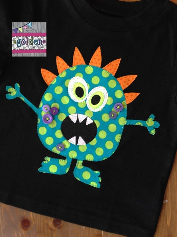 Halloween Monster Teal and Lime Boy Tee, Boy Shirt, Onesie