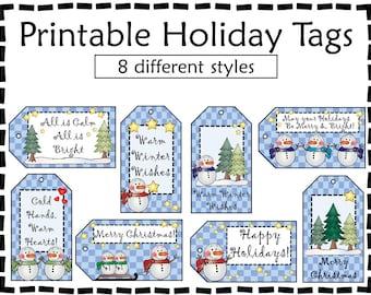 Printable Snowman Gift Tags - Holiday Gift Tags - Gift Tags