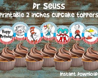 Dr Seuss cupcake toppers, Printable Dr Seuss cupcake toppers, Dr Seuss cake, Dr Seuss birthday, Cat in the hat cupcake toppers, Dr Seuss tag