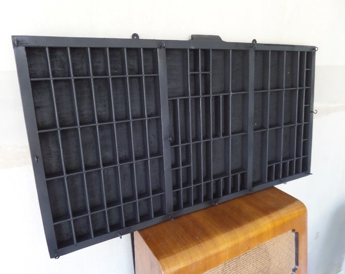 "Matt Black Printers Tray, 1940's Wooden Typeset Drawer, Wall Mounted Shadowbox, 32.25"" x 16.5"", Jewellery, Nail Polish, Miniatures Display"