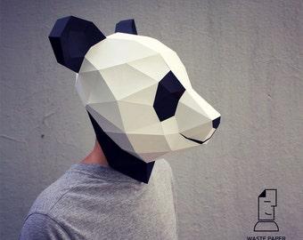 Papercraft panda mask - printable DIY template