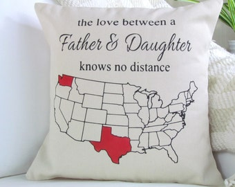 The Love Between A Father And Daughter Knows No Distance Pillow, Father's Day Gift, Dad Gifts, Gift For Him, Dad Pillow, Christmas Gift,