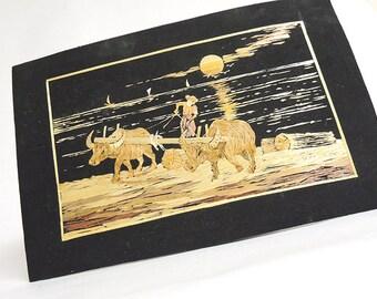 """Myanmar Hand Made Straw Art Photo, 12.5"""" x 8.25"""""""