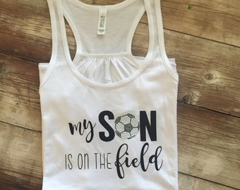 """Womens Flowy """"My Son Is On The Field"""" Tank Top Shirt"""