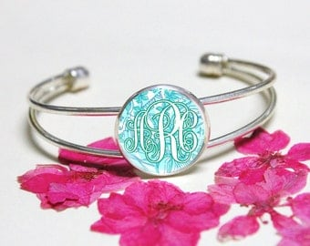 Mint Green Lilly Pulitzer Inspried Bracelet,Monogram Initial Bracelet,Silver Cuff Bracelet,Wedding Gift,Birthday Bracelet Jewelry For Her