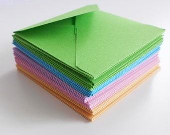 Pastel Colors Mini Envelopes, Handmade Envelopes, Square Envelopes, Love Note, Gift Card, Mini Note Cards, Blank Cards