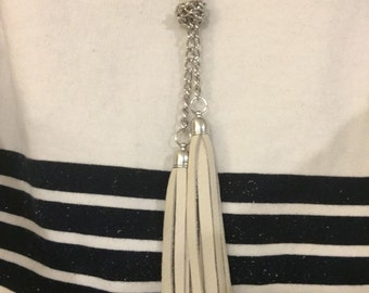 Silver and Vanilla Leather Tassel Long Necklace